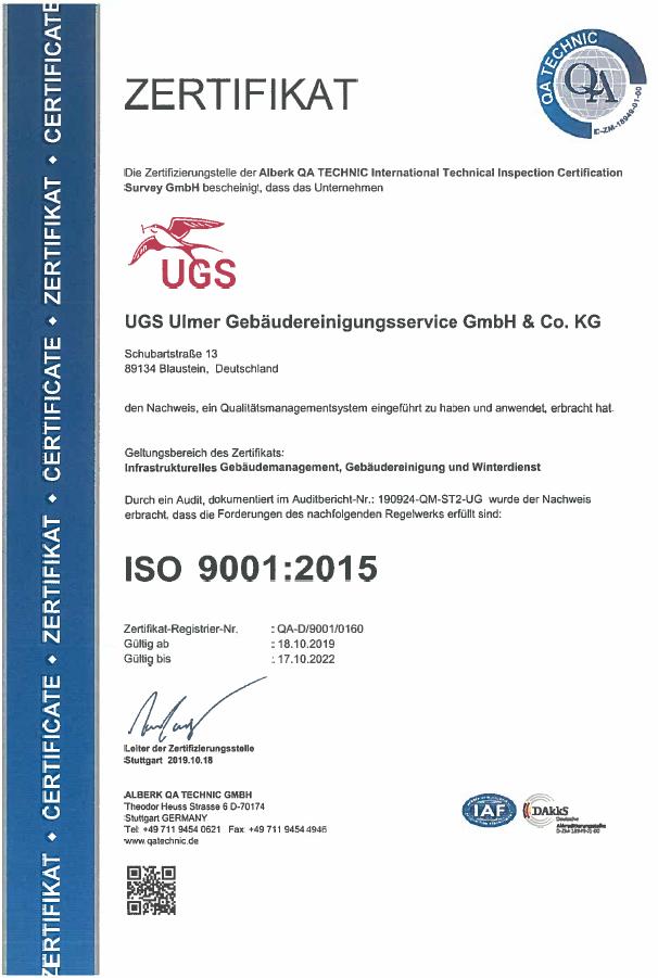 ISO Zertifikat 9001 - 2015